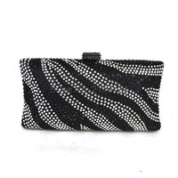 Black And White Women Evening Bag Diamante Crystal Clutch Bag River Pattern Wedding Party Purse Royal