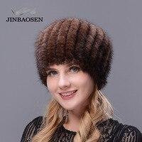 JINBAOSEN 2019 Winter travel ski cap bere fur hat mink fur knit inner cap fox fur ball woman elegant fashion