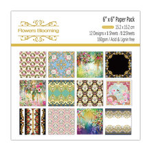 KLJUYP 12 Sheets Flowers Blooming Scrapbooking Pads Paper Origami Art Background Paper Card Making DIY Scrapbook Paper Craft(China)