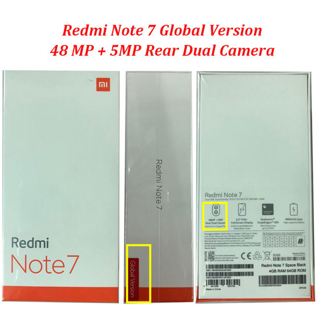 "Global Version Xiaomi Redmi Note 7 4GB 64GB 48MP Cameras Snapdragon 660 Octa Core 6.3"" FHD+ Mobile Phone QC 4.0 4000mAh Battery"