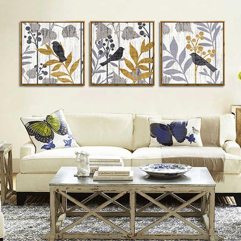 Haochu Dinding Triptych Gambar Pemandangan Pedesaan Burung Daun Kartun Kanvas Lukisan Bedroom Studio Studi Dekorasi Seni Modern