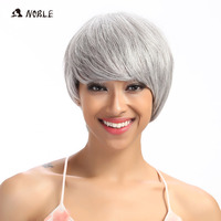 Noble Hair Straight Short Wigs For Black Women 8 Inch White Color Synthetic Wig Adjustable For