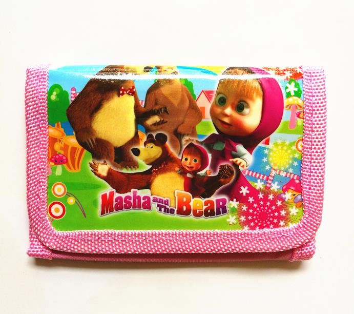 2018 new cut girls boys coin Purses nylon cartoon masha and the bear kid wallets bag cartoon kid supercharged
