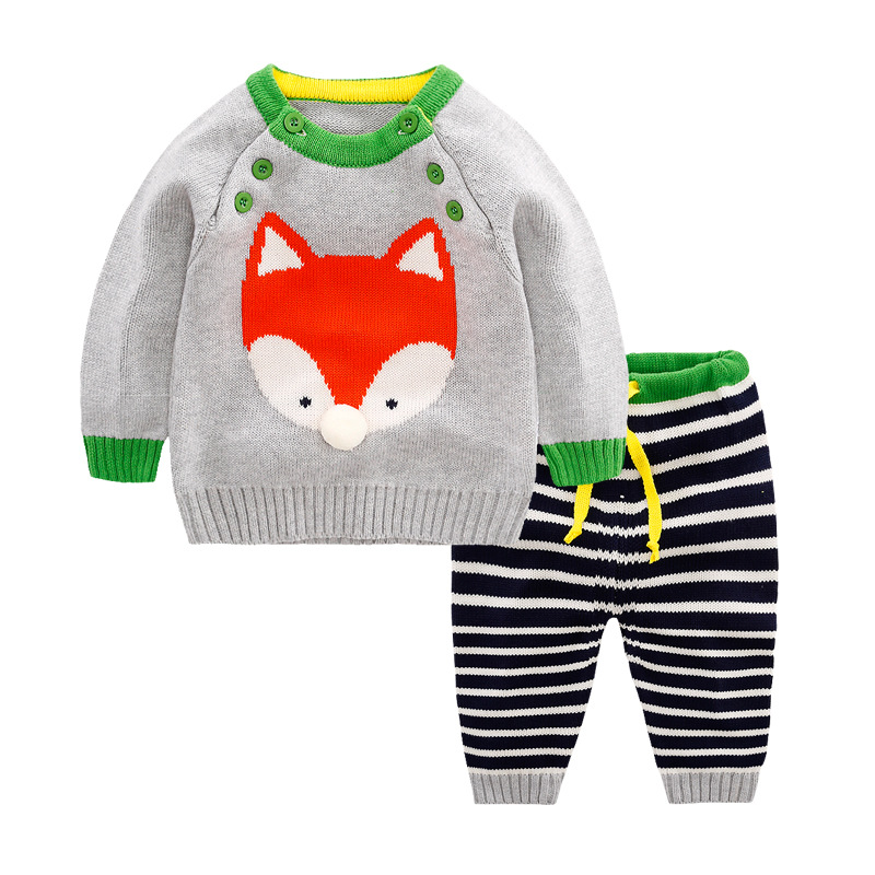 Winter Baby Sets for Boys and Girls Clothes 2017 Cotton Sweater and Pants Fox Suits for Newborn to 2 Years Child Clothes Sets children sets girls winter sweater coat