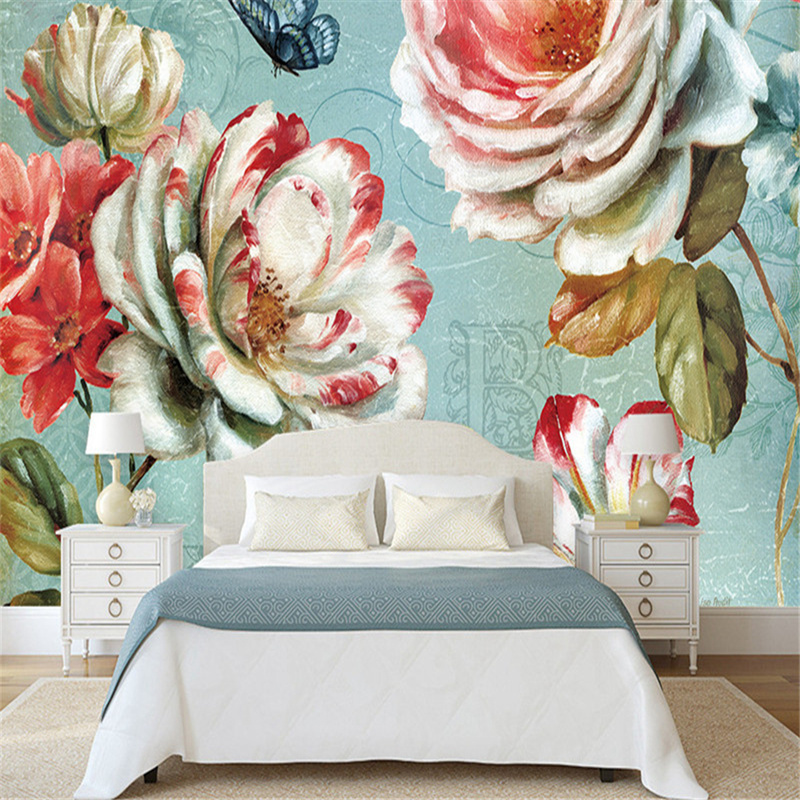 3D Photo Custom European Style Wallpaper Luxury Retro Reliefs With Red Flowers Mural Home Decor Wallpaper Sofa TV Background marilyn monroe retro wallpaper custom european style movie star настенная панно для постельных принадлежностей