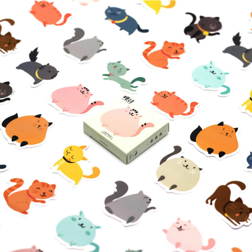 40pcs Candy Color Fat Cat Memo Stickers Pack Posted It Kawaii Planner Scrapbooking Stationery Escolar School Supplies