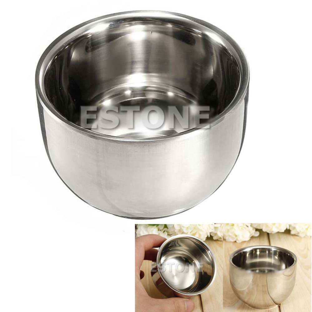 Y122-7.2cm Stainless Steel Metal Men's Shaving Mug Bowl Cup For Shave Brush