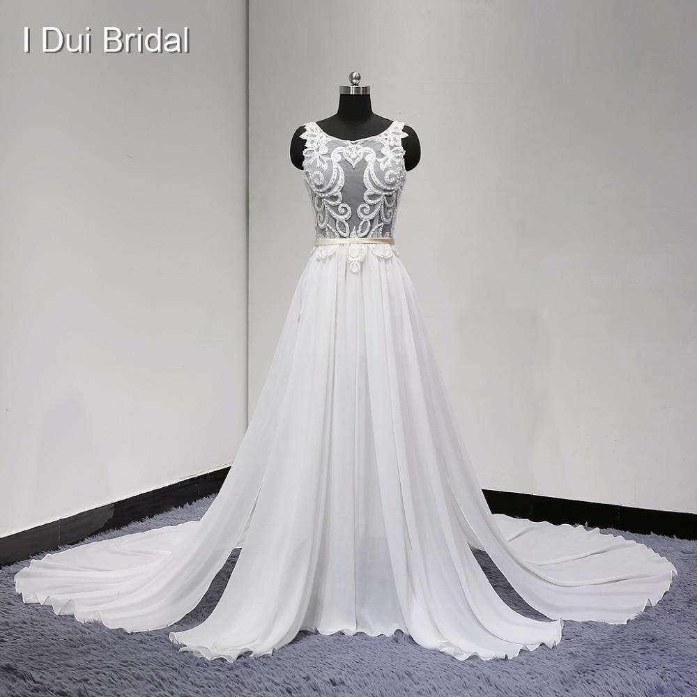 Pakaian Perkahwinan Sexy Lihat Melalui Renda yang Unik 2017 Gaya Baru Gambar Pendek Di Dalam Piece Chiffon Berkualiti Tinggi