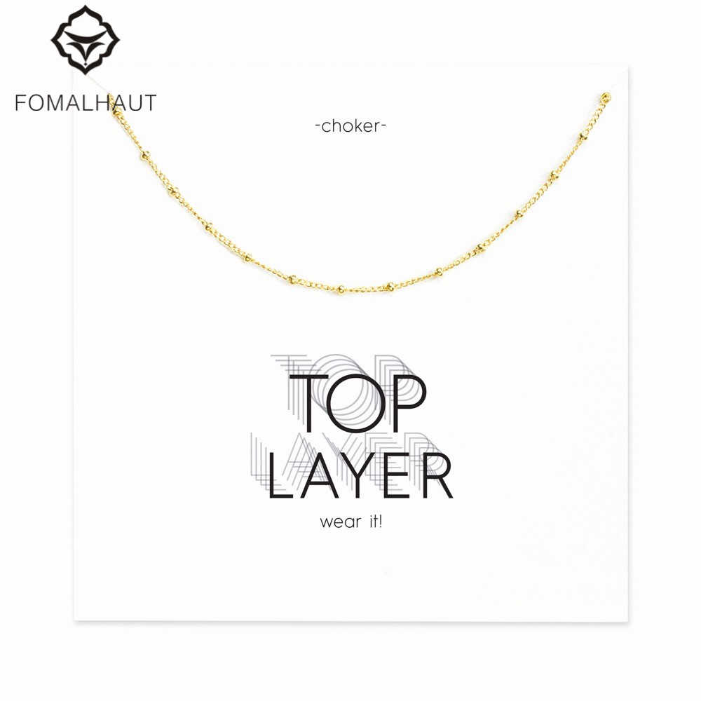 beaded chain choker necklace Pendant necklace Clavicle Chains Statement Necklace Women FOMALHAUT Jewelry