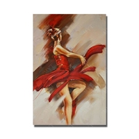 Сексуальная красная повязка женщина танцует масляной живописи испанка dancer figure wall art paint девушек ню фотография
