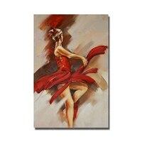 섹시한 레드 드레싱 여자 춤 유화 스페인어 여성 댄서 그림 벽 예술 페인트 여자 누드 그림