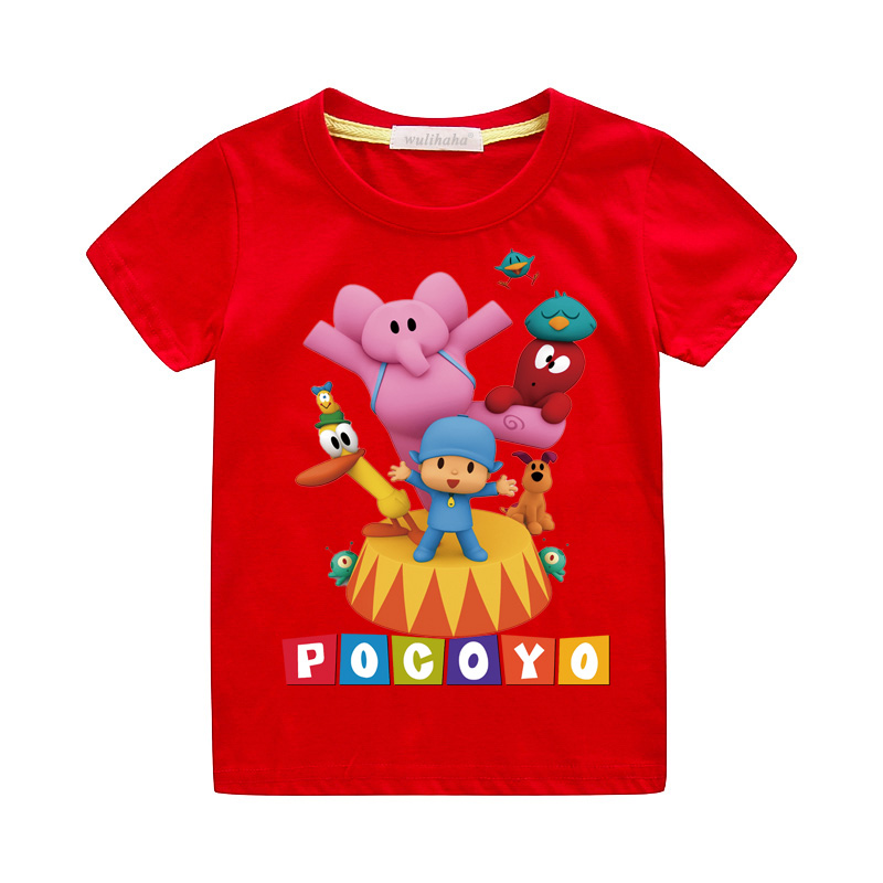 Girls Cute Cartoon Pocoyo Print T-shirts Costume Boys Short Sleeve Tshirts Clothing Children Summer Casual Tee Top Clothes ZA064 (6)