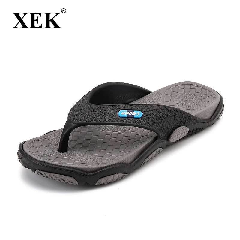 XEK 2018 Men's Slippers Summer Non-slip Massage Slippers Fashion Man Casual High Quality Soft Beach Shoes Flat Flip Flops ST271(China)