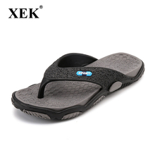 ca3daa5d6c4d3f XEK 2018 Men s Slippers Summer Non-slip Massage Slippers Fashion Man Casual  High quality Soft