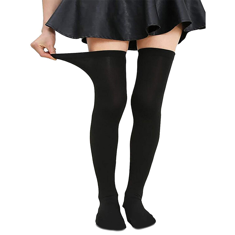 3b9c3348fd6 AZUE Women s Plus Size Thigh high Over The Knee socks Black White Stripe  Stretchy Fashion Teen Thick Stockings
