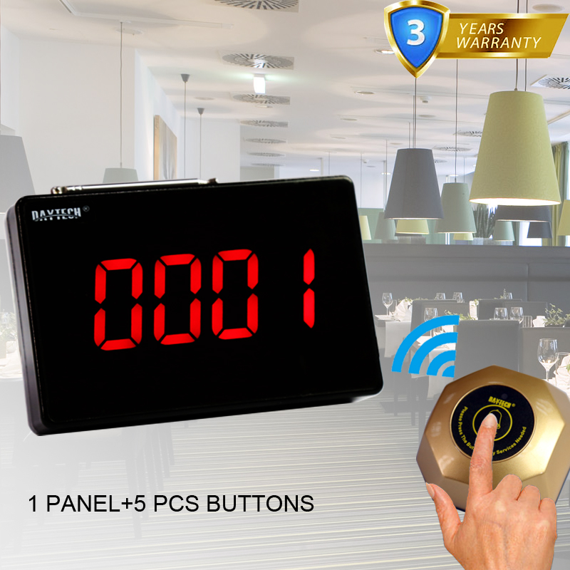 DAYTECH Pager Calling System Restaurant Wireless Service Pager Systems Table Bell Waiter 1 PC panel and 5 PCS Call Button restaurant call bell pager system 4pcs k 300plus wrist watch receiver and 20pcs table buzzer button with single key