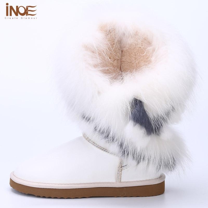 sheep fur lined white fox fur tassels