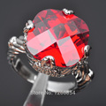 Exclusive! Red Stone Cubic Zirconia For Women 925 Sterling Silver Jewelry Ring Size 6 7 8 9 N0116  Free Shipping