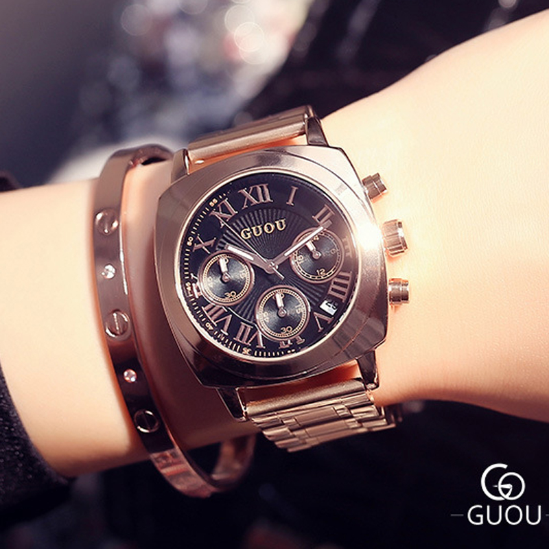 Guou Luxury Women Watches Roman numerals Fashion Ladies Watch Rose Gold Watch Calendar Women's Watches Clock saat reloj mujer excellent quality geneva watch women watches reloj mujer dropship 2017 casual roman numerals pu leather mechanical clock luxury