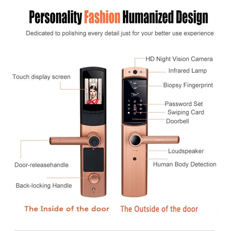 Smart Cerradura WIFI Door Lock Video Peephole Door Camera Fingerprint Password Electronic Lock Viewer Doorbell Remote APP Unlock in Electric Lock from Security Protection