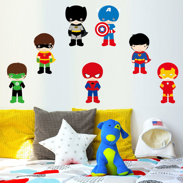 Various Super Hero The Avengers Wall Stickers For Kids Room Decor Diy Home  Decals Cartoon Mural Cover Art Pvc Print Poster