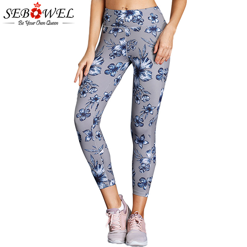 SEBOWEL High Waist Floral Print Yoga Leggings Women Elastic Tights Fitness Slim Gym Active Pants Female Sport Running Trousers yoga floral print ombre leggings