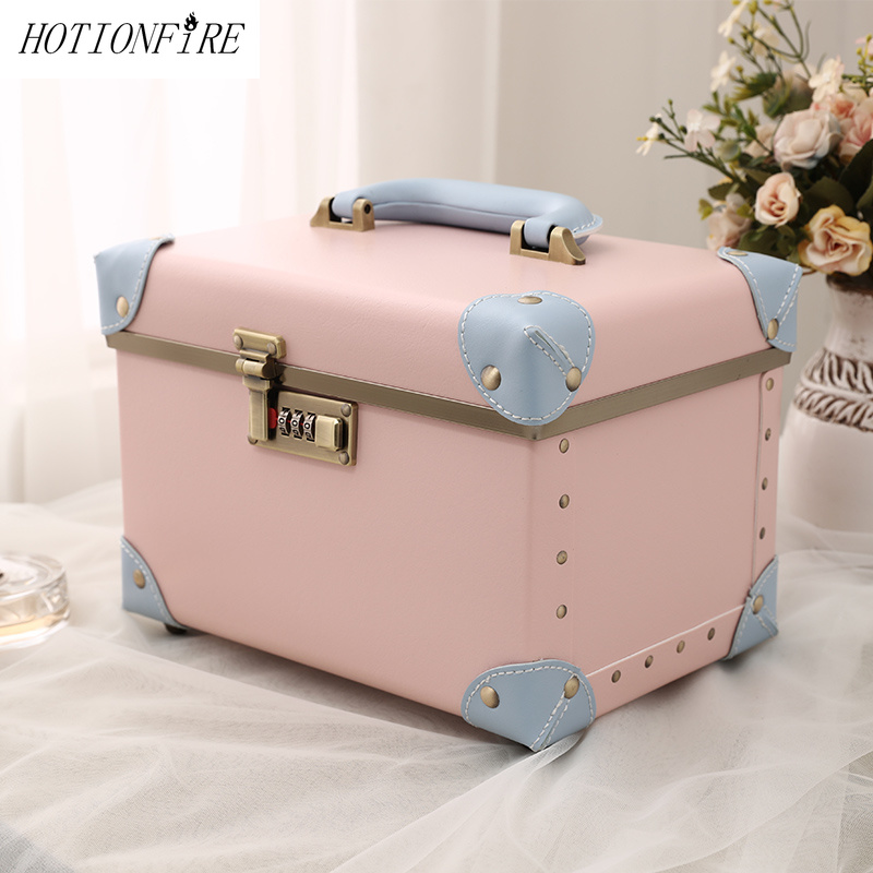 Women Bag Code Lock Light Suitcase 10/15 Inches Mini Hasp Lady Business Cosmetic Bag Suitcase For Makeup Bag Toiletry Bag Travel