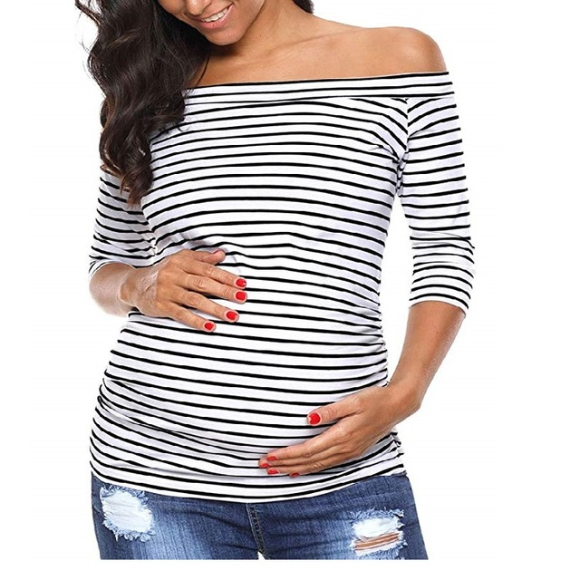Womens Pregnancy Off Shoulder 3 Quarter Blouse Striped Top Maternity Clothes Slash Neck Pregnancy Womens Clothing ropa mujer 1