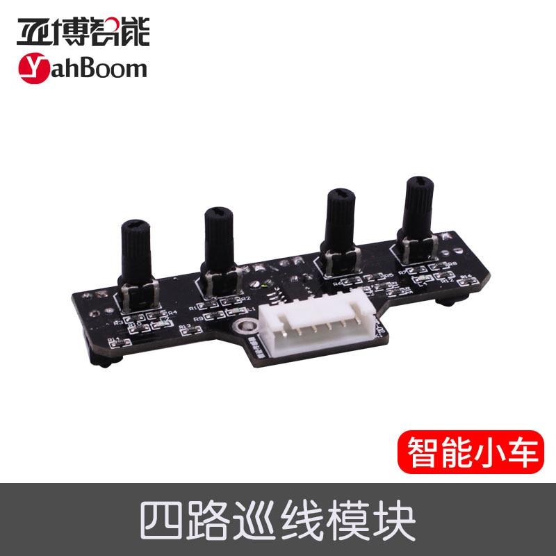 Smart Car Tracking Robot 4 Line Sensor Module Infrared Tracing Black Line Identification AGTech diy smart car light sensor controller black 9 30v