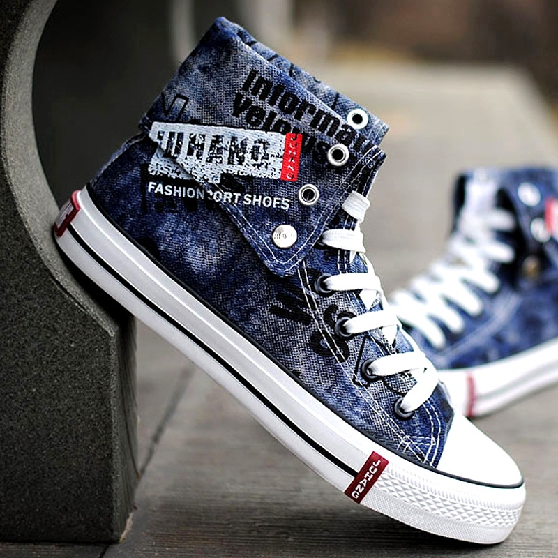 Canvas Graffiti Men Casual Shoes Denim Sneakers Men Vulcanize Shoes Oxford Plimsolls Footwear Turn Over Summer Male Shoes AET637 e lov women casual walking shoes graffiti aries horoscope canvas shoe low top flat oxford shoes for couples lovers