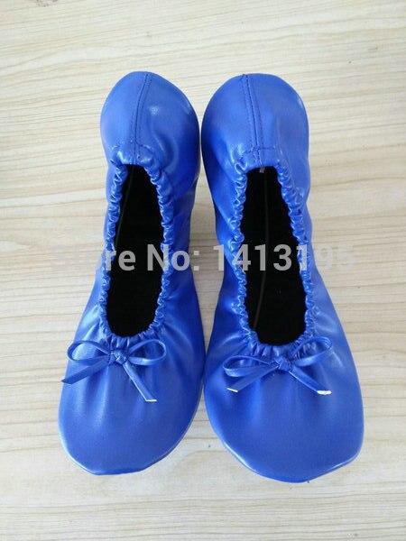 2017 Royal blue lady portable roll up ballet flat Spain ballerina shoes 409a3c9a76