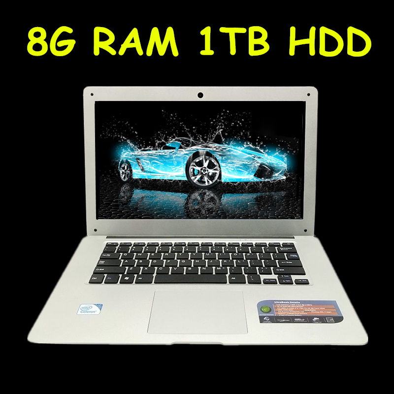1920X1080P FHD Screen 8GB RAM 1TB HDD Windows7/8/10 Ultrathin Quad Core Fast Running Laptop