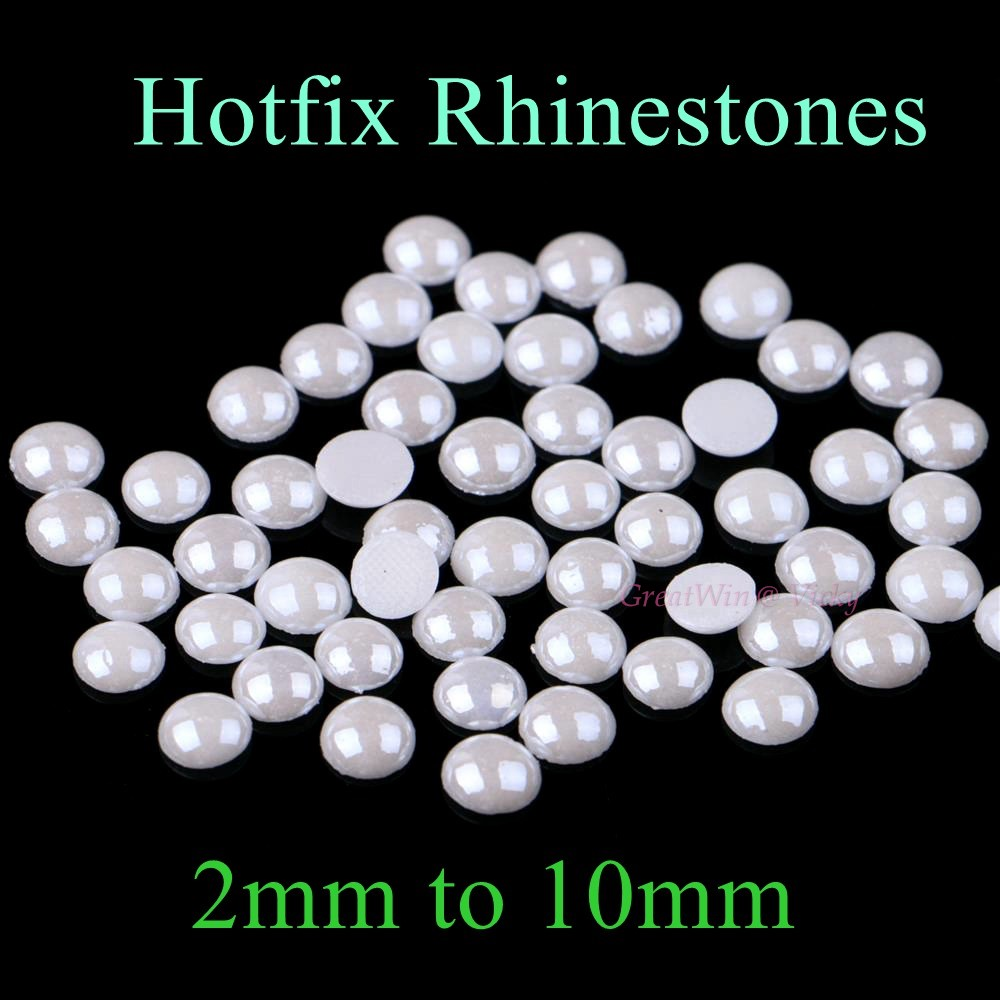 Ceramic Hotfix Rhinestone 2mm to 10mm White Color Flatback Polymer Clay Rhinestones  Hot Fix Strass Stones bf92ddfdeb47