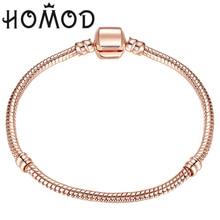 Горячая 17-21 см розовое золото цвет и серебро цепочка со змеями бисера Подходит бренд браслет ювелирные изделия подарок для женщин