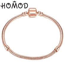 2019 Hot Sale 17-21cm Rose Gold Color & Silver Snake Chain Charm Bead Fit Original Brand Bracelet Jewelry Gift For Women цена в Москве и Питере
