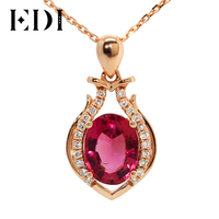 EDI Oval Cut Red Tourmaline Gemstone With Diamond Accents Pendant Necklace In 18K Solid Rose Gold