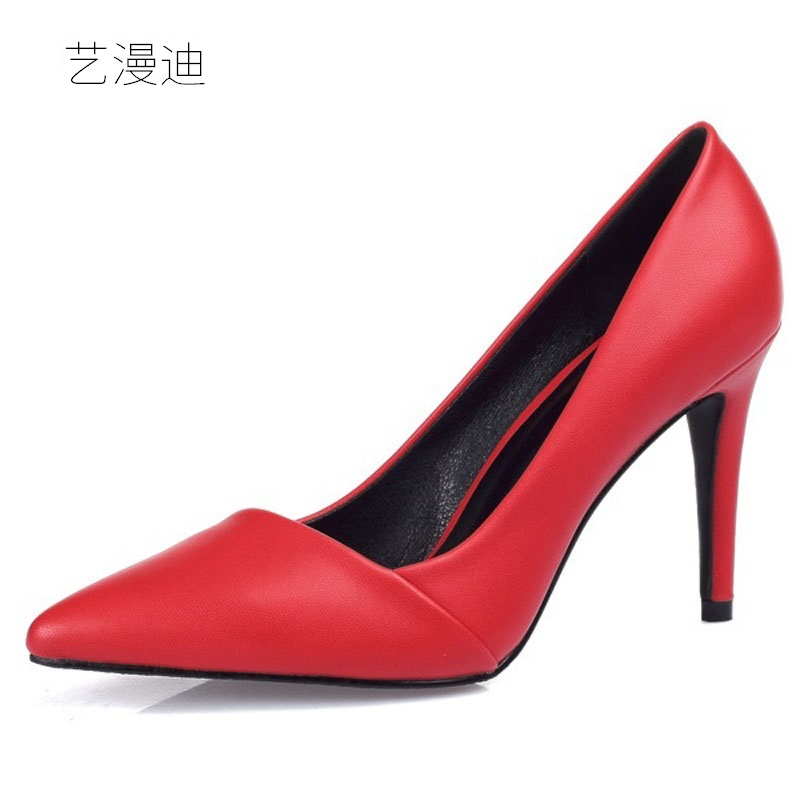 2018 Small Size 30-43 Red Sexy High Heels for Women's Pumps with Shoes Woman Wedding Dress Ladies Party Evening Black Beige newest summer style woman pumps shoes high quality ladies high heels basic shoes for party free shipping size 37 43