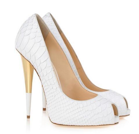 Mulheres jacaré branco saltos altos apontou/peep toe bombas de saltos de ouro branco das mulheres do partido sapatos 2017 - 4
