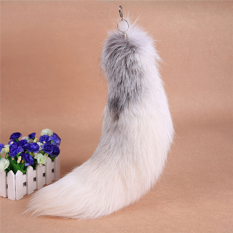 "18"" Huge Fluffy White Gray Fox Tail Fur Cosplay Toy Alopex Lagopus Ring Hook"