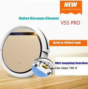 Inteligente V5S PRO Robot aspirador mojado y seco limpio tanque de agua filtro HEPA, Ciff Sensor, self Charge ROBOT ASPIRADOR