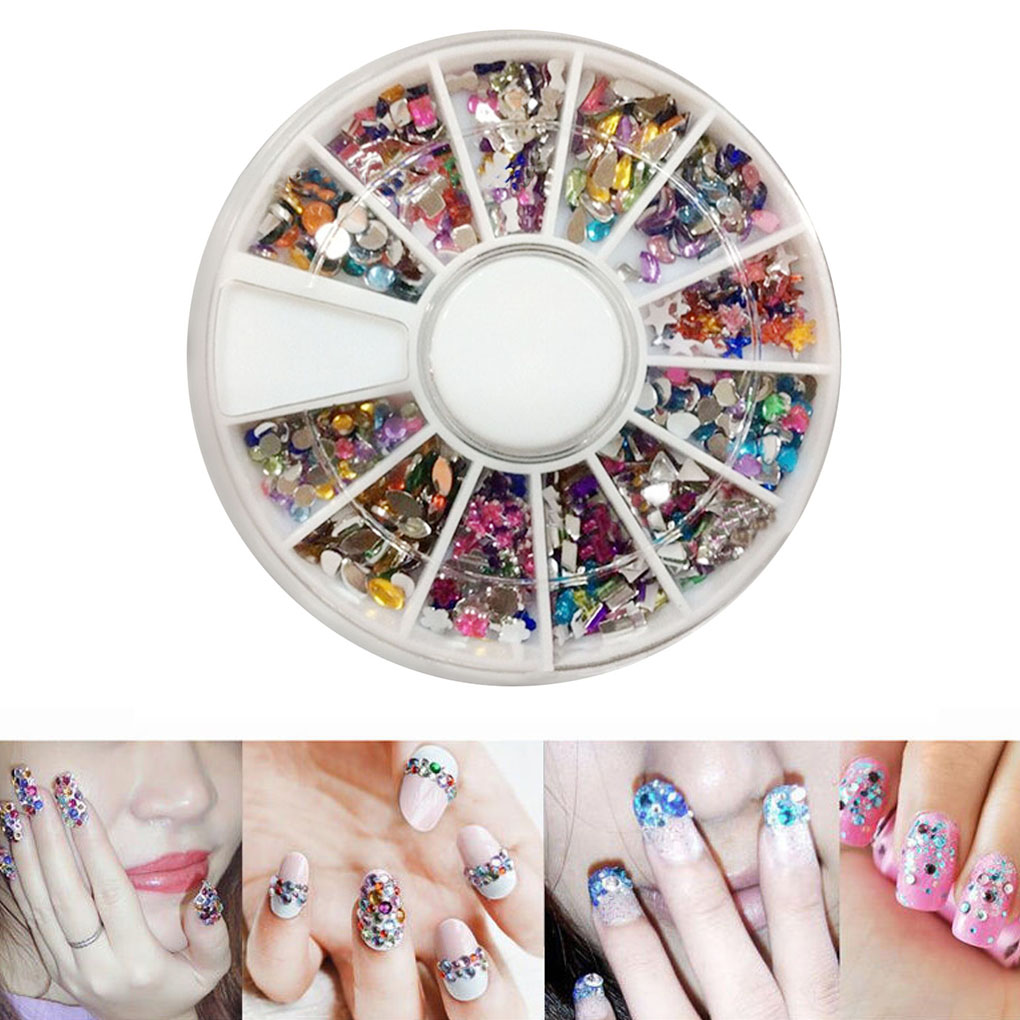 Brand New Mixed Color 3D Nail Art Tips Crystal Glitter Rhinestone DIY Nail Decoration Kits in Rhinestones Decorations from Beauty Health