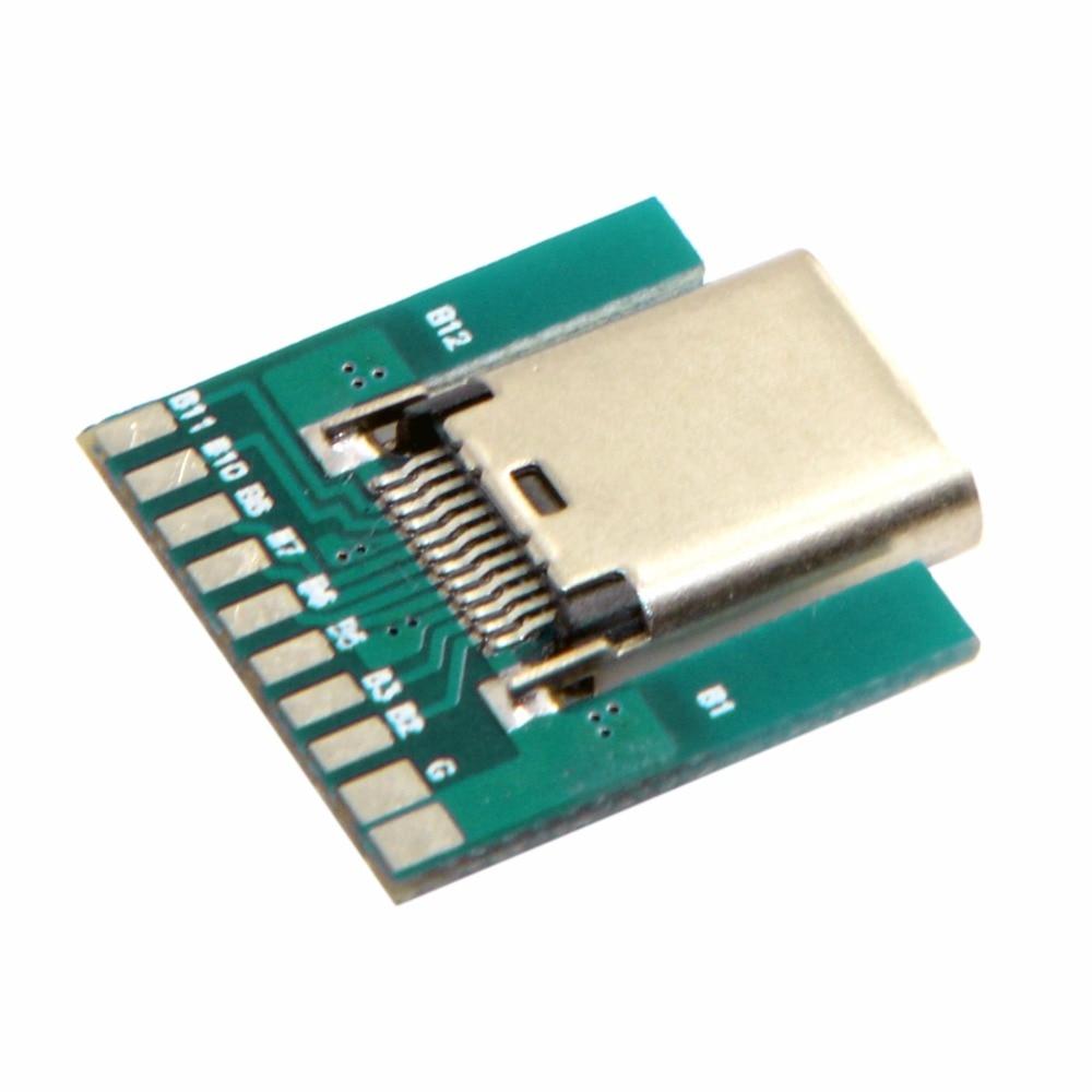 DIY 24pin USB 3.1 Тип c гнездо разъема SMT Тип с ПК совета