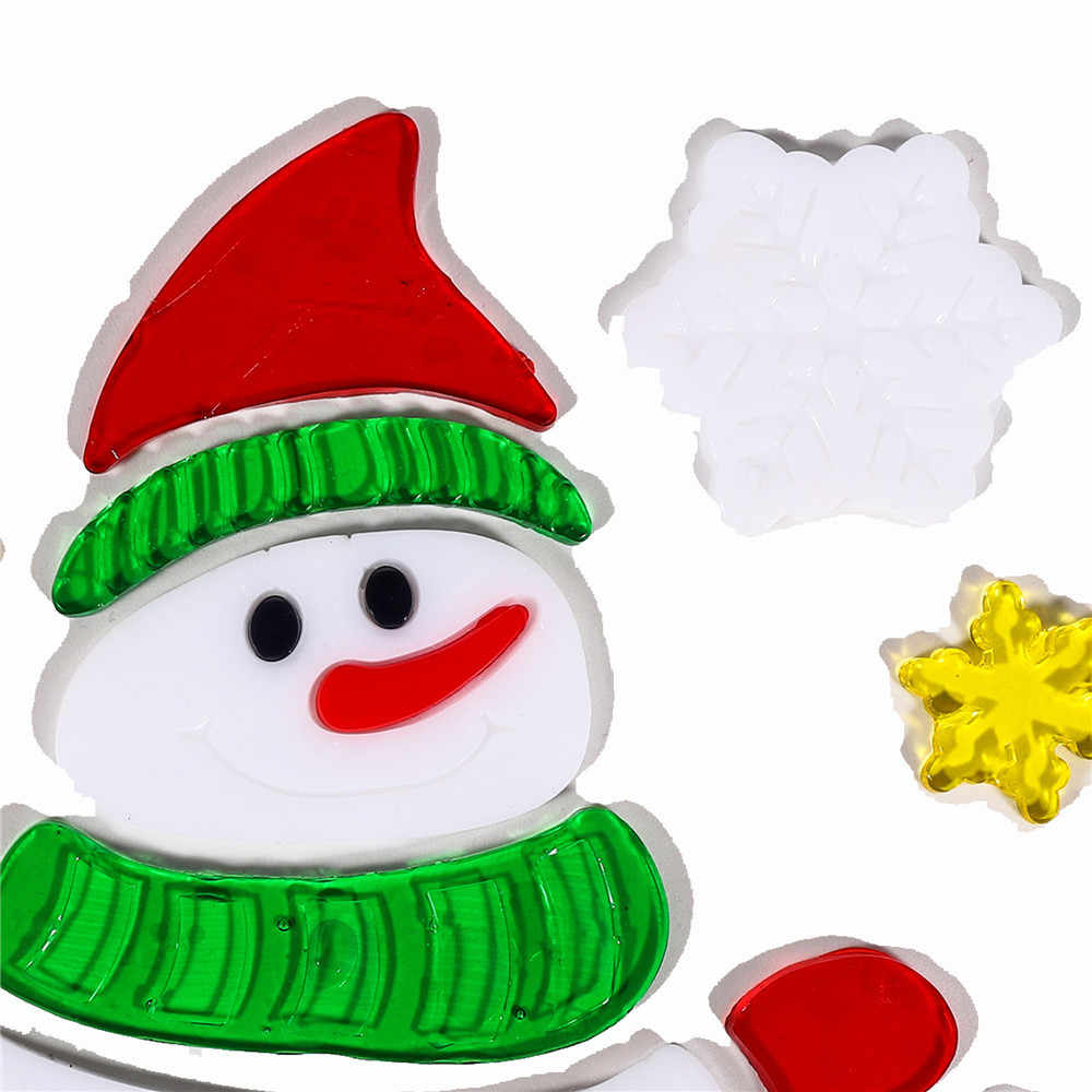 Large christmas mirror sticker snowman window gel jelly sticker xmas party home glass decor belen de