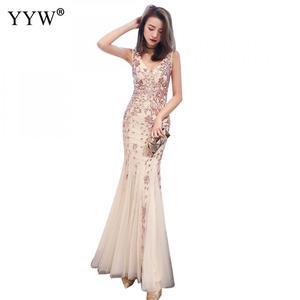 Image 5 - エレガントなスパンコール女性の高級ロングイブニングドレスフォーマルドレスクラブパーティー vestidos 刺繍チャイナ伝統的な中国マーメイドドレス