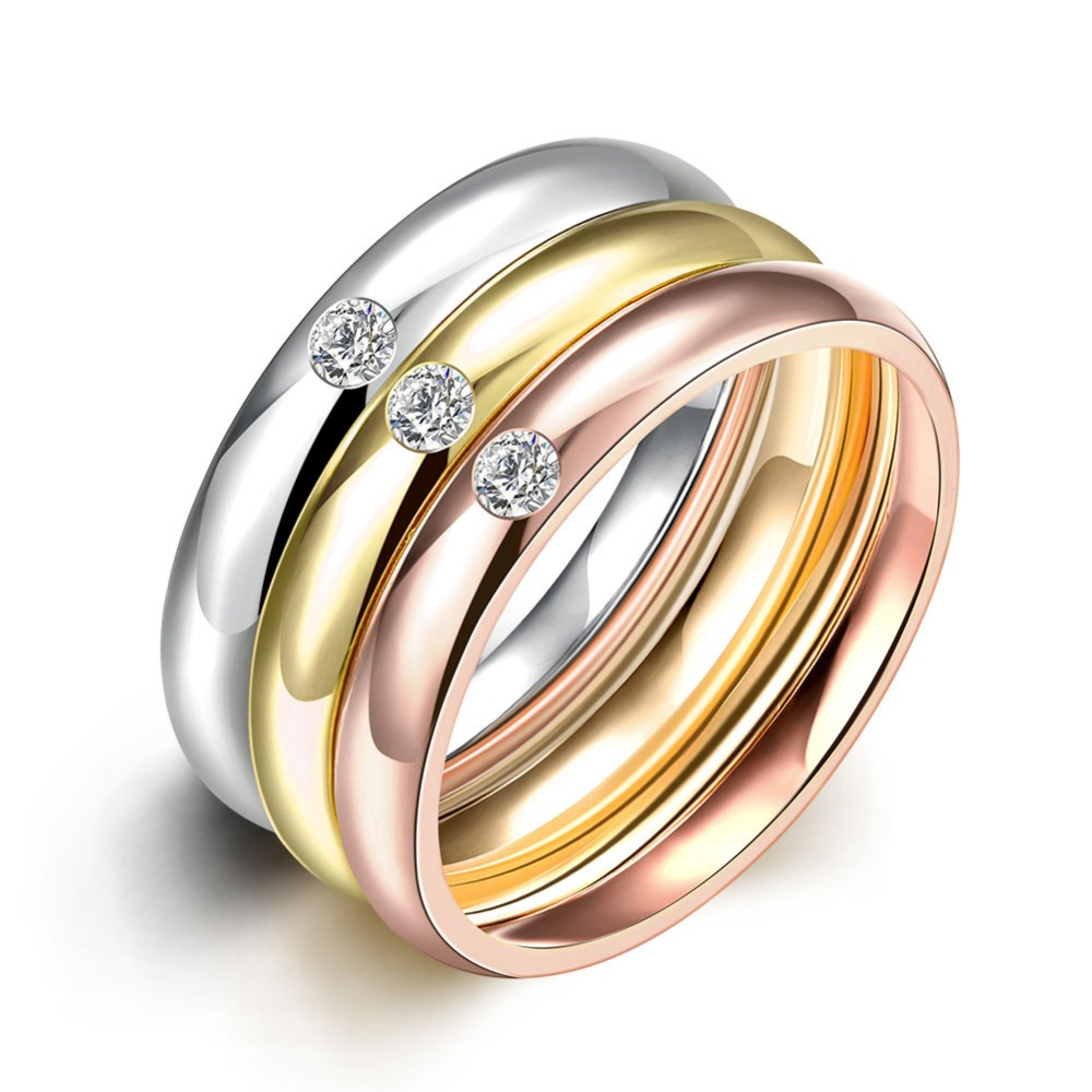 Romantic 3 Color Bridal Sets Rings for Women AAA CZ Titanium Steel Gold Colour Fine Jewelry Size 6,7,8,9 JZ5142