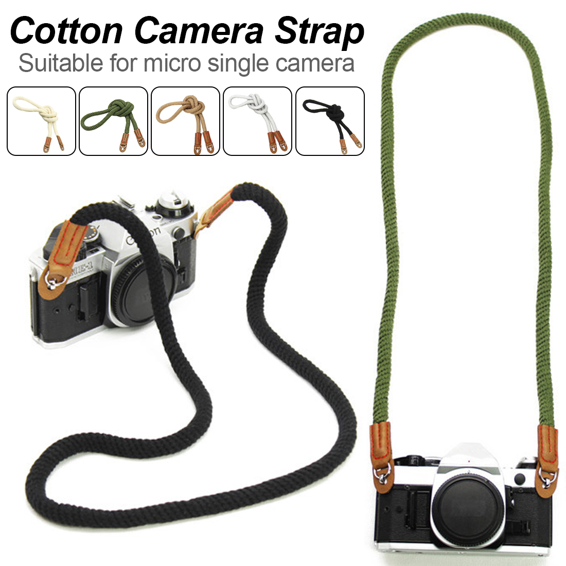 Universal Camera Elegant Cotton Tape Strap Neck Shoulder Carrying 75/100cm General Belt For Leica Canon Nikon Digital Camera image