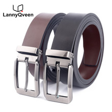 LannyQveen Double-sided use fashion mens pin buckle belt Genuine Leather wholesa