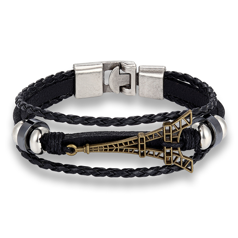 FAMSHIN New Hot sell Fashion Jewelry Multielement Chain Leather Rope Handmade Bracelet Eiffel Tower Bracelet Bangles Accessories