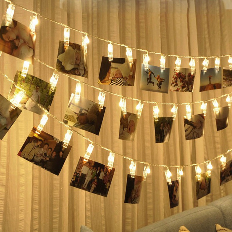 20 LED Garland Card Photo Clip Led String Fairy Lights Battery Operated Christmas Garlands Wedding Valentines Decoration