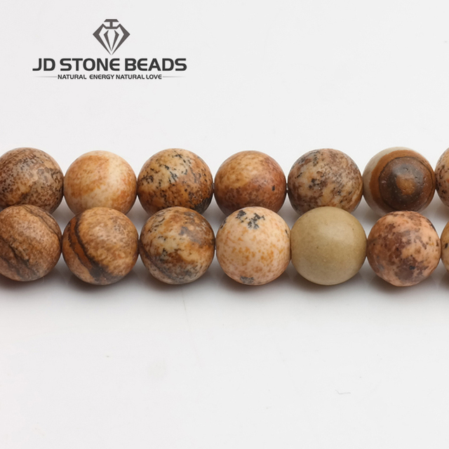 "70%Off Free Shipping Natural Stone Picture Jaspers Round Beads 15"" Strand 2 3 4"